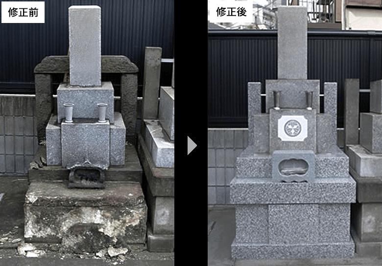 B:寺院墓地1.08m2墓所の修復例